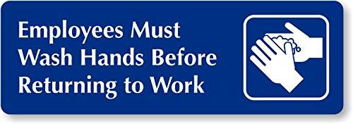 "SmartSign ""Employees Must Wash Hands Before Returning To Work"" Diamond Plate Door Sign | 2' x 6' Aluminum"