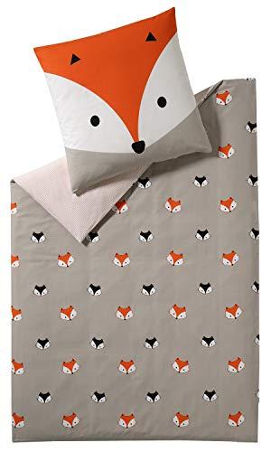 ESPRIT Kinder Bettwäsche 135x200 • Kinderbettwäsche • Kissenbezug 80x80 cm • 100% Baumwolle • Fox
