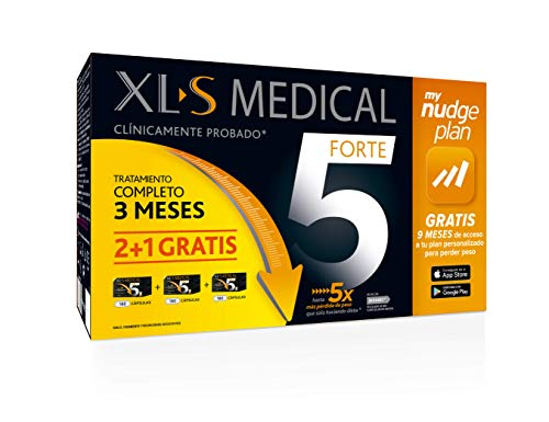 XLS Medical Forte 5 Pack 3 meses + Plan Nudge & Servicio Nutricionista Gratis | Origen Natural 100% Vegano | 540 cápsulas, 3 meses