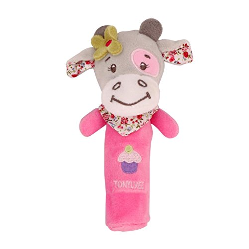 Coloré(TM) peluches bebe Plush Toy Plush Dolls Animaux Hand Bells Musical Bébé Peluches Developmental Rattle Bed Kids (D)