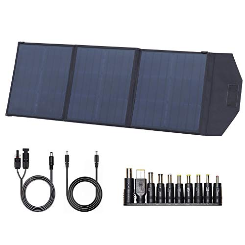 U`King Solar Panel 18V 60W Foldable Solar Charger Kit with USB, DC output, Monocrystalline Portable Solar Panel Charger for Power Station, Camping, Mobile Phone and Laptop
