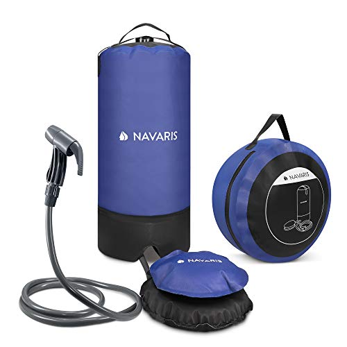 Navaris Portable Pressure Shower with Foot Pump - 2.9 Gallon (11L) Outdoor Solar Shower Bag with...