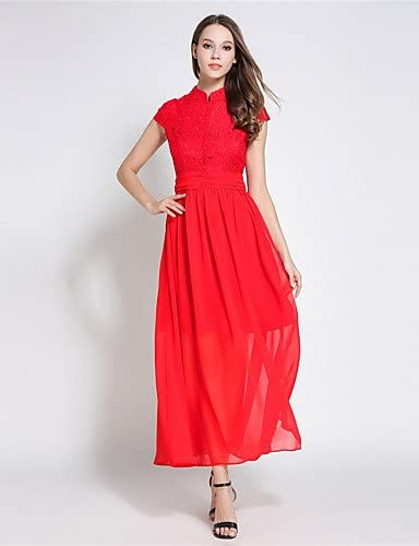 Xuanku Suoqi Robes Femmes Manches Courtes Col Stand épissure Dentelle Rouge Robe De Mousseline Robe Swing