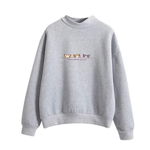 Tefamore Femmes Mode Manches Longues imprimé Trois Chats Sweat-Shirt Chemisier Tops T -Shirt(Gris,XX-Large)