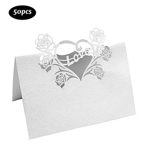 Dylan-EU 50 Pezzi Segnaposto Cartoncino con Rose e Motivo a Cuore Segnaposto da Tavolo Cartellini Segnaposto Fatti per Festa Compleanno Matrimonio Battesimo