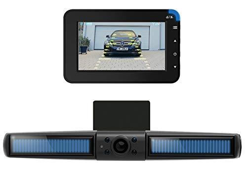 Lescars Kabellose Solar-Funk-Rückfahrkamera mit Monitor & Einpark-Hilfslinien