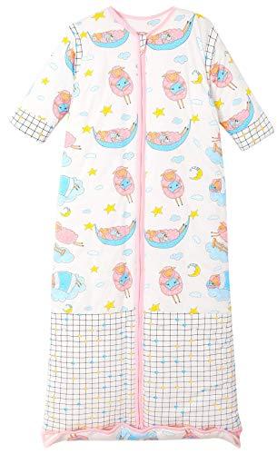 Chilsuessy Winter 2.5 Tog Kinder Schlafsack mit abnehmbaren Ärmeln Bio Babyschlafsack für Jungen und Mädchen von 1 bis 10 Jahre alt, Rosa Schafe, L/Koerpergroesse 100-130cm