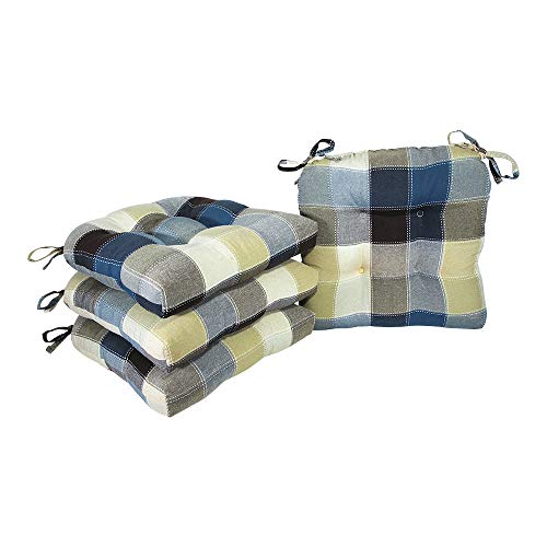 """Arlee Harris Plaid Chair Pad Seat Cushion, Full-Length Ties for Non-Slip Support, Durable, Superior Comfort & Softness, Reduces Pressure, Washable, for Indoor Use, 16"""" X 16"""" (Blue, Set of 4), 4 Count"""