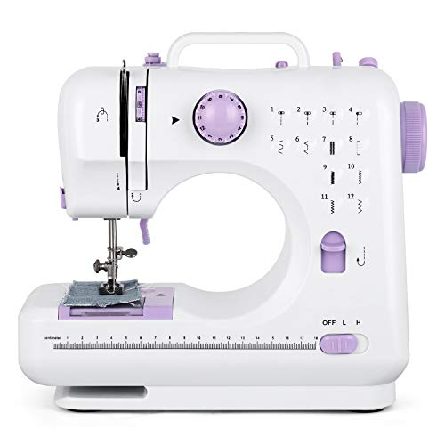 Mini máquina de coser con 12 puntadas, máquina de coser eléctrica doméstica para principiantes y mujeres, portátil, color morado