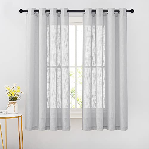 """NICETOWN Semi Sheer Curtains for Bedroom - Grommet Top Translucent Soft Privacy Window Treatment Voile Drapes for Kids Room/Nursery (Light Grey, 52"""" W x 63"""" L, Set of 2 Pieces)"""