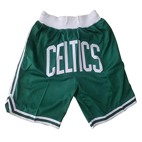 Gofei Herren Celtics Basketball Shorts Dichte Stickerei Atmungsaktiv Mesh Fabric Elastizität für Basketball Fitness Kurze Hose Mit Taschen Basketballhosen