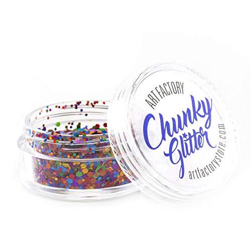 Art Factory Chunky Glitter - Rainbow Pride (10 ml), paillettes de polyester de grade cosmétique pour le visage, le corps et les cheveux