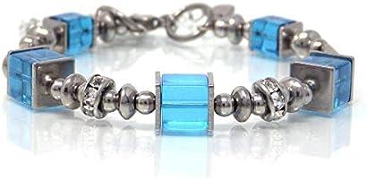 Bracciale rigido in acciaio inossidabile blu con perle di vetro e perline di strass