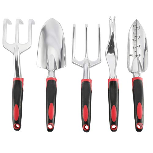 Sparkfire Garden Tool Set, 5 Piece Aluminum Heavy Duty Gardening Gifts Tool Set with Non-Slip Rubber Grip