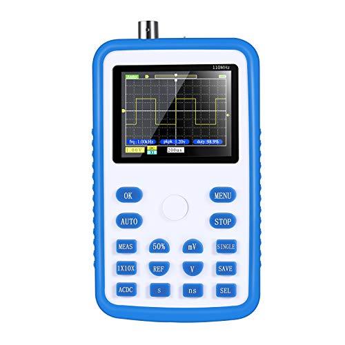TTLIFE Osciloscopio, 1C15 Osciloscopio digital profesional, 2,4 pulgadas 500MS / s Frecuencia de muestreo 110MHz Osciloscopio digital portátil IPS, USB recargable, Kit de osciloscopio portátil