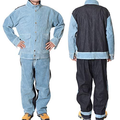 XXLHH koeienhoed+Jean laspakken Hittebestendige Heavy Duty laspak slijtvaste anti-brandwerende brandwerende werkkleding lassen beschermende kleding voor lasser timmerman smid