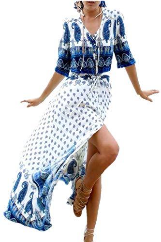 YouKD Caftano in Cotone da Donna Kimono Lungo Boemo Costume da Bagno Cover up da Spiaggia Abito Taglie Forti