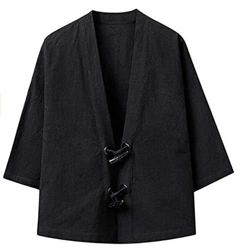 Mens Cotton Vintage Loose Top, Mannen Japans Yukata Coat Kimono Uitloper Mannen shirt met lange mouwen Casual Streetwear Youth retro hoorn gesp kimono jasje