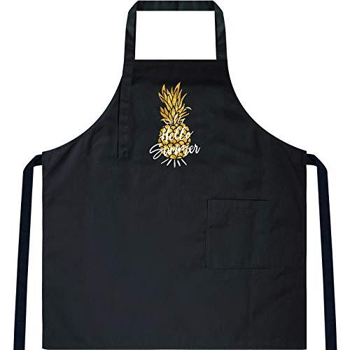 JJFU Schort Thuis Keuken Koken Schort Hot Blouse Nieuwe Waterdichte Chef Werk Mannen En Vrouwen-Zwart (Cotton Polyester Blend)-Small