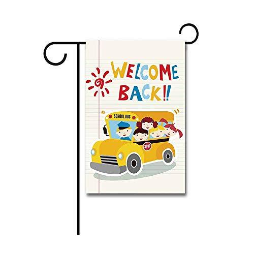 Decoratieve Banners,Welkom Terug naar School Bus met Kinderen Tuin Vlag 30 X 45 CM