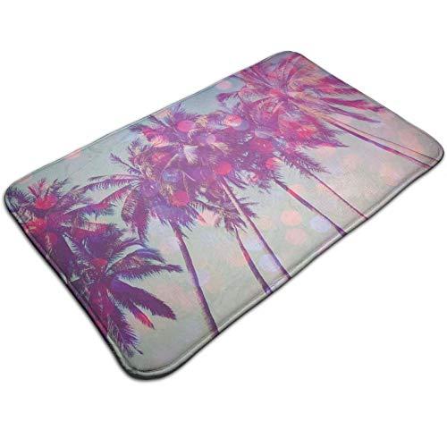 Felpudo de 60 x 40 cm, palmeras hawaianas Tropic Seashore Beach Californian Miami Sunbeams imagen lavable a máquina, alfombra absorbente decorativa de baño con motivos