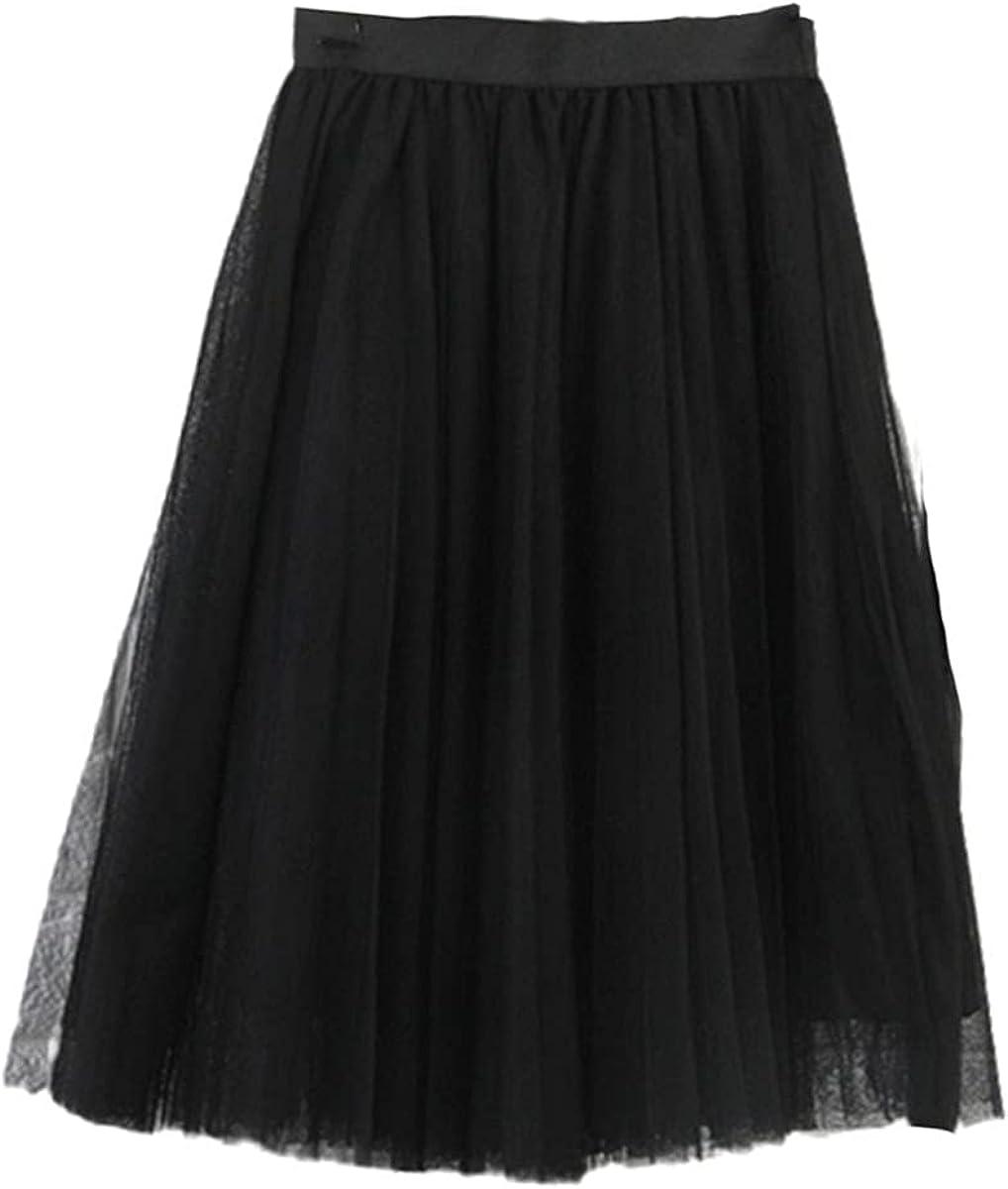 4-Layer Tulle Skirt Women's Black Gray White Adult Tulle Skirt Stretch High Waist Pleated Midi Skirt