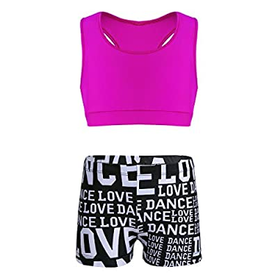 YiZYiF Kids Girls Basic 2 Piece Active Outfit Crop Top and Shorts Set for Gymnastics/Dancing/Workout Zo Tank Rose 7-8