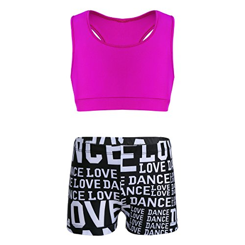 TiaoBug Mädchen Sport BH Crop Top + Shorts Kurze Hose Kinder Sportshirt Ballett Tanz Workout Tank Top Fitness Tights Leggings Hotpants Pink&Schwarz 140-152