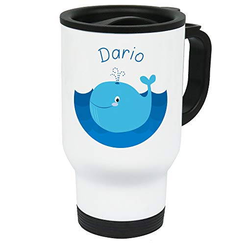 Eurofoto Thermo-Becher mit Namen Dario und Blauwal-Motiv für Jungen | Thermo-Tasse | Isolier-Becher mit Henkel aus Edelstahl