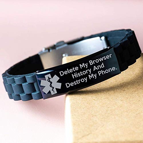 Medical Alert Bracelet,Please delete My Browser History, Funny , Geeky Gadgets,LOL