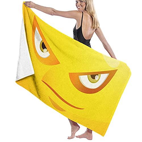 Toalla de playa de Emoji amarilla, de secado rápido, absorbente, compacta, a prueba de arena. La mejor toalla ligera grande para gimnasio, natación, deportes, viajes o baño