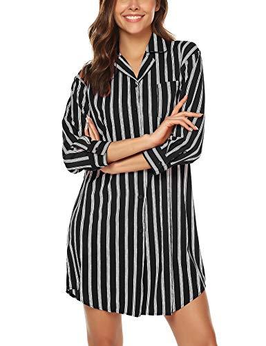 BESDEL Frauen Boyfriend Schlaf Hemd Kleid Gestreiftes Button Down Cotton Nachthemd Pyjama Duster Schwarz M