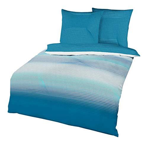 JACK by Kaeppel Biber Bettwäsche Transition Aqua Petrol Blau Türkis Grau Streifen, Größe:240x220cm Bettwäsche