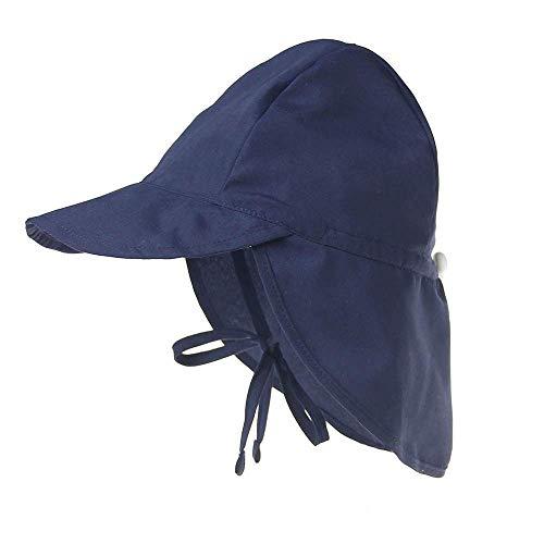 Boomly Chapeau de soleil pour bébé avec protection de la nuque - Visière anti-UV, respirante - Pour la plage les activités en extérieur, en été - Bleu - 3-18 mois