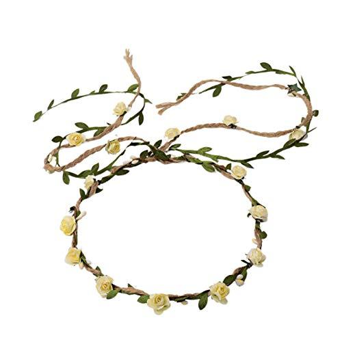 DDazzling Flower Crown Floral Wreath Headband Floral Garland Headbands photo props (Ivory)