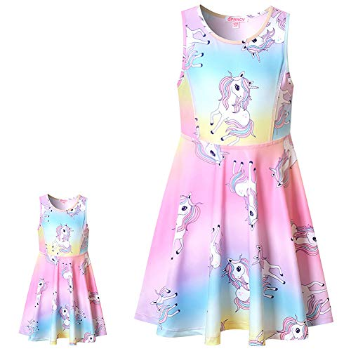 Matching Doll & Girls Dresses Kids Toddler Unicorn Cloth Fit 18' American Girl