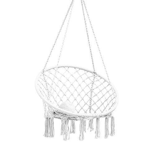 Jannyshop Macrame Schaukel Hängematte Nordischen Stil Hängende Baumwollseil Schaukelstuhl für Wohnzimmer Lesen Balkon Outdoor Rest Weiß