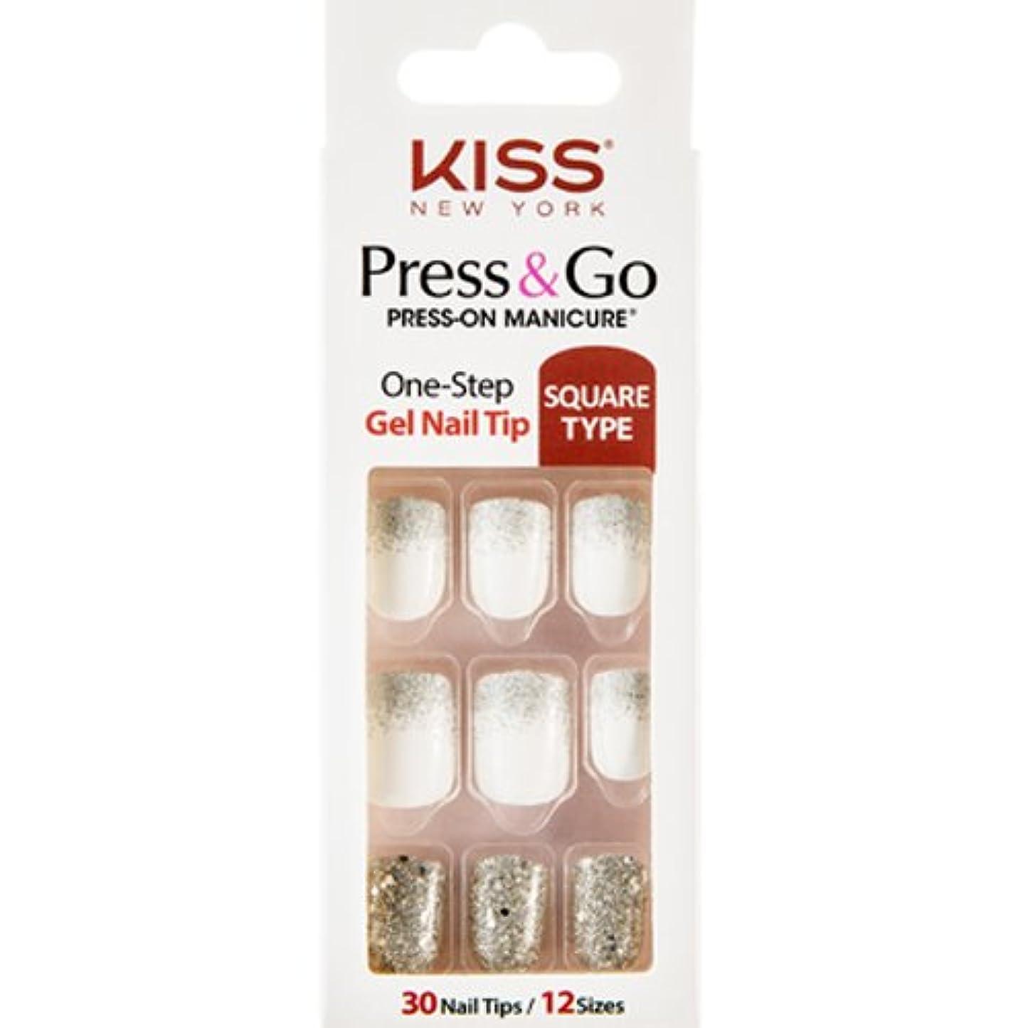 用量ロデオ細菌[KISSNEWYORK]キスニューヨークプレスアンドゴーホワイトシルバーパールグラデーション(スクエアタイプ)/1秒成形ネイルPNG01K付けるネイルPRESS&GO PRESS-ON MANICURE One-Step Gel Nail Tip/SQUARE TYPE