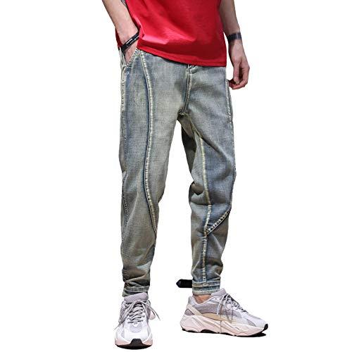 ShFhhwrl Vaqueros de Moda clásica Pantalones Vaqueros para Hombre Recién Llegados Retro Azul Cintura Elástica con Cordón Piernas