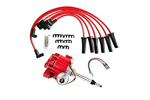 A-Team Performance HEI Distributor 65K Coil 7500 RPM Complete Kit w/Red Silicone Spark Plug Wires & HEI Pigtail Harness Compatible with Chevrolet Chevy GM GMC Truck Late Model Inline 6CYL 230 250 292