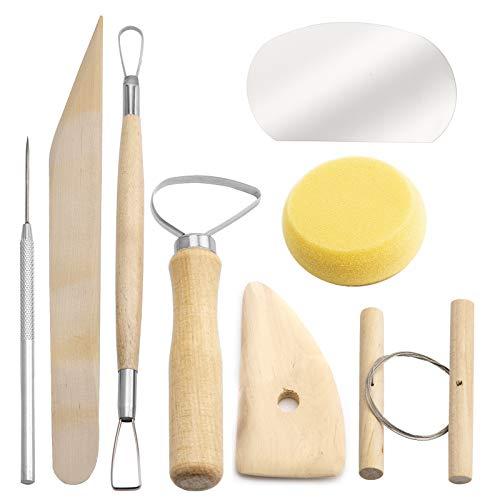 LUTER 8 Stück Holz Keramik Ton Werkzeuge Set, Keramik Ton Wachs Keramik Schnitzen Skulptur Modellieren Reinigung Werkzeuge