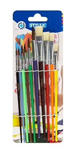 Stylex 35065 - Schul-Pinselset mit 10 Pinseln in unterschiedlichen Ausführungen und Größen, 4 Borstenpinsel und 6 Aquarellpinsel, für die Schule und Zuhause