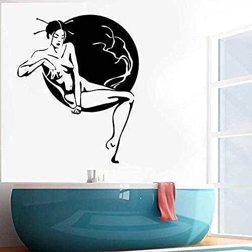 Wall Stickers Vinyl Wall Decals Geisha Japanese Beauty Naked Woman Girl Cherry Blossom Tree Decoration Living Room Bedroom Bathroom 57x70cm