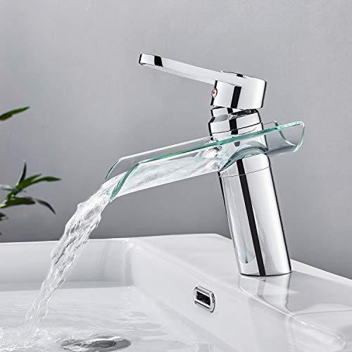 WOOHSE Grifo monomando para lavabo, efecto cascada, para lavabo, altura cómoda, cromado