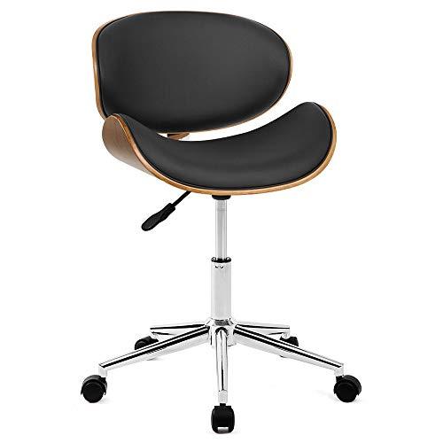jeerbly Silla de escritorio con marco de madera y piel acolchada, giratoria y ajustable, color negro y nogal