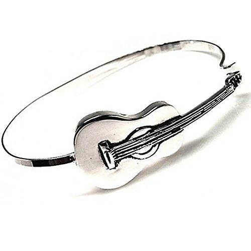 Pulsera plata Ley 925m rígida guitarra oxidada hombre [AB4295]