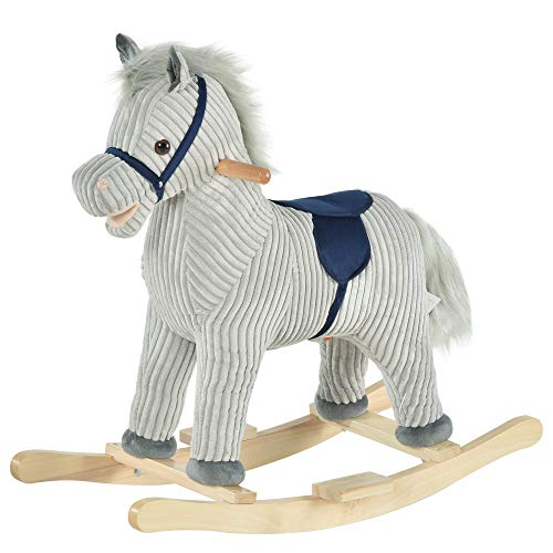 HOMCOM Kids Plush Rocking Horse w/ Sound Children Rocker Ride On Toy Gift 36 - 72 Months Grey