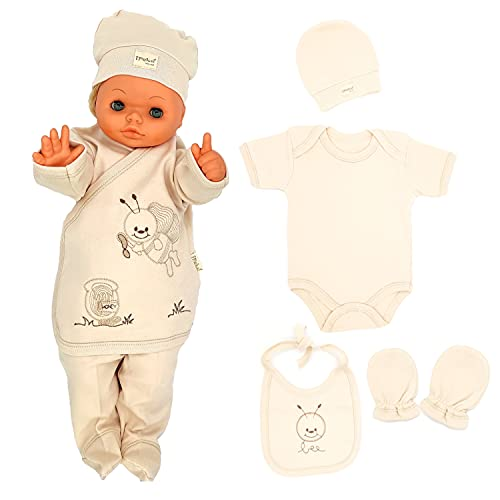 Ipeksi Neugeborenen Baby Geschenk Set 100% natürliche Baumwolle Erstausstattung Unisex Kleidung Geschenkset für 0-4 Monate Babys 6 Teilig