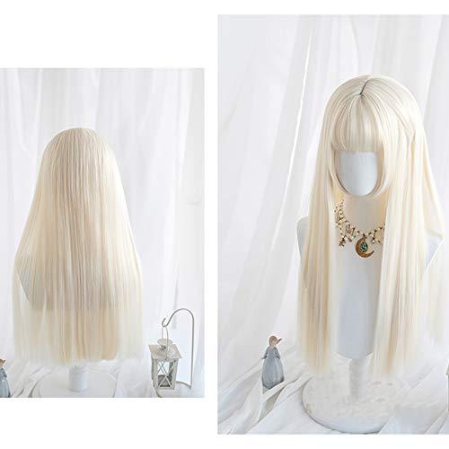 Perruque Femmes 60CM Lolita longue ligne droite Blond clair Bangs Mignon cosplay synthétique résistant à la chaleur perruque de cheveux Postiches