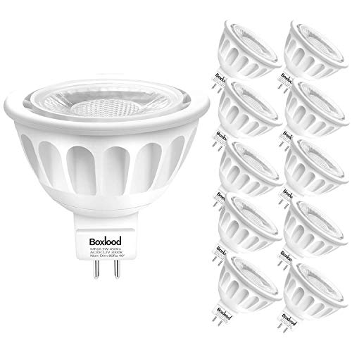 MR16 LED Light Bulbs Non Dimmable, 10PACK, AC/DC12 Volt, Gu5.3 Bi-Pin Base, 5-Watt(50-Watt Equivalent), 3000-Kelvin Warm White, 40-Degree Narrow Beam Angle by Boxlood